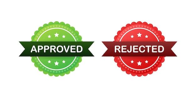 Icona dell'autoadesivo dell'etichetta approvata e rifiutata