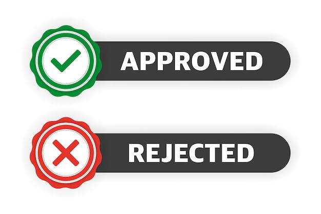 Approvato rifiutato. due banner piatto. icona dell'etichetta. illustrazione vettoriale.