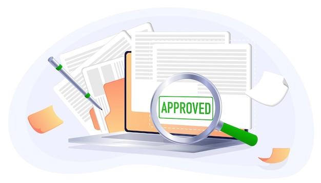 Approvato timbro sigillo verde conferma di un certificato di contratto documento banner web