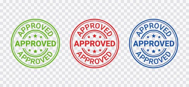 Timbro approvato. sigillo impronta approva. distintivo di permesso di approvazione, etichetta. adesivo accettato. conferma certificato
