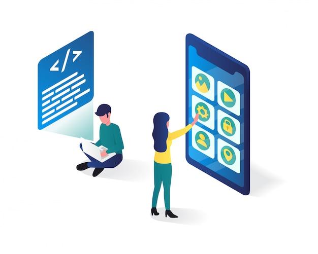 Illustrazione isometrica di sviluppo di app, illustrazione isometrica utente di app