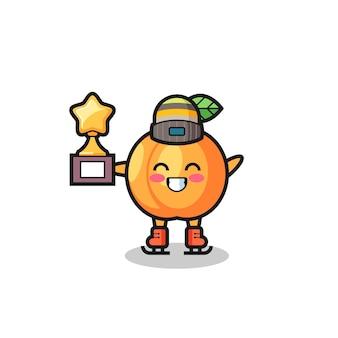 Il cartone animato di albicocca come un giocatore di pattinaggio sul ghiaccio tiene il trofeo del vincitore, un design carino in stile per t-shirt, adesivo, elemento logo