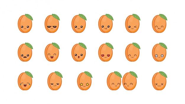 Simpatica mascotte kawaii albicocca. impostare facce di cibo kawaii