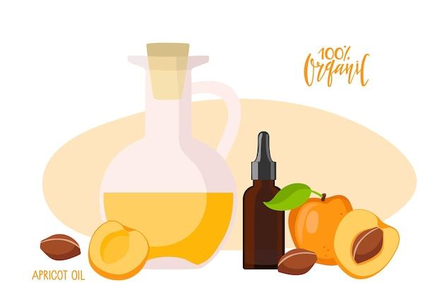 Olio di nocciolo di albicocca in bottiglie mediche di vetro e frutti di albicocca prodotti sanitari biologici
