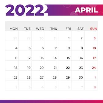 Calendario aprile 2022