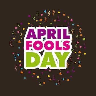 Scheda di giorno di aprile fools su sfondo nero
