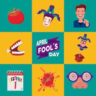 April fools day scritte con otto set di illustrazione