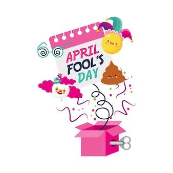 Pesce d'aprile con scatola a sorpresa con clow calendario ed emoji. illustrazione