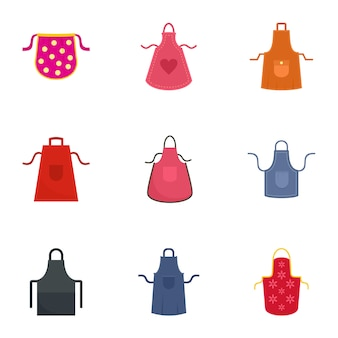 Set di icone di grembiule. set piatto di 9 icone vettoriali grembiule
