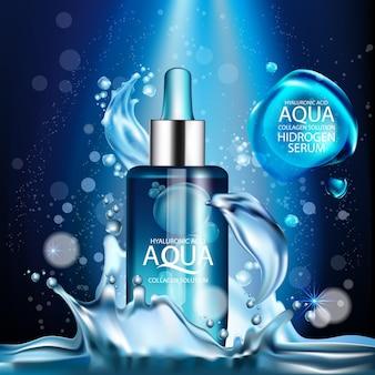 Siero di collagene aqua pelle e cosmetici per la cura della pelle di concetto di sfondo
