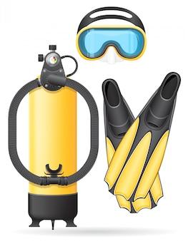 Tubo e alette della maschera di aqualung per l'illustrazione subacquea di vettore