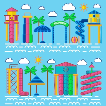 Manifesto di vettore delle attrezzature di intrattenimento di aquapark