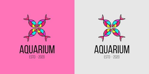 Concetto di logo colorato di pesci d'acquario per negozio di animali