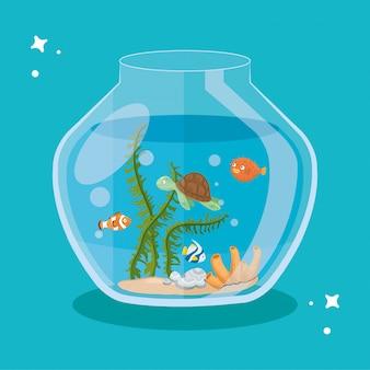 Pesci d'acquario e tartaruga con acqua, acquario marino per animali