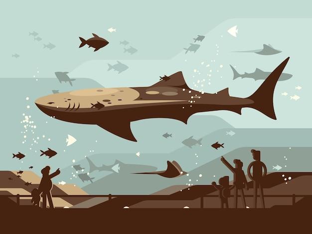 Acquario con grandi pesci marini. le persone guardano il mondo degli animali marini. illustrazione