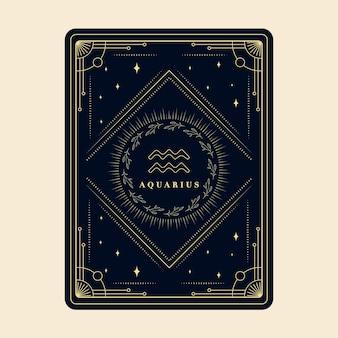 Acquario segni zodiacali carte oroscopo costellazione stelle carta zodiacale con cornice decorativa
