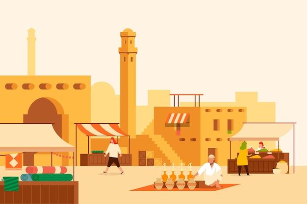 Illustrazione di bazar arabo con commercianti e clienti