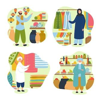 Raccolta di illustrazioni del bazar arabo