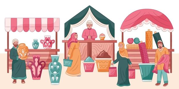 Illustrazione del mercato del bazar arabo
