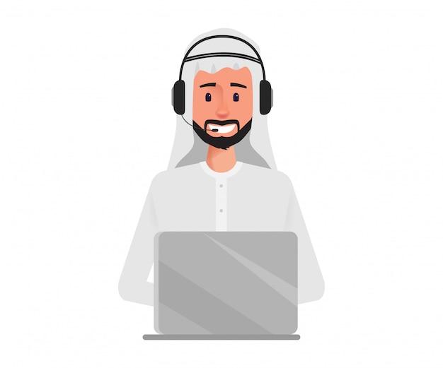 Uomo d'affari arabo nel carattere call center.