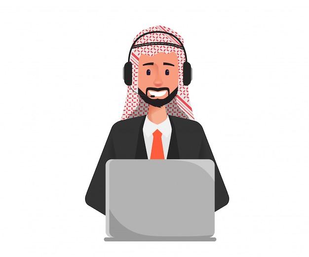 Uomo d'affari arabo in call center al personaggio del servizio clienti.