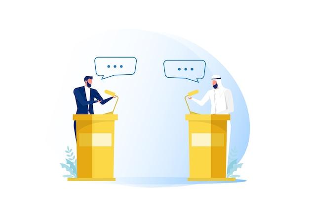 Uomini d'affari arabi oratori o dibattito sul commercio