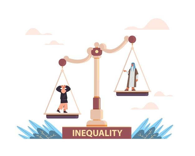 Uomo d'affari arabo e imprenditrice su scale concetto di disuguaglianza aziendale di genere maschile vs femminile ineguali opportunità
