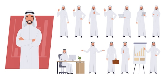 Carattere uomo d'affari arabo. pose ed emozioni diverse.