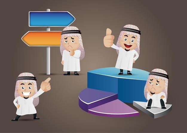 Uomo d'affari arabo in diverse azioni personaggi dei cartoni animati impostati