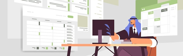 Uomo d'affari arabo sul posto di lavoro pianificazione giorno pianificazione appuntamento nel calendario online app agenda piano riunioni concetto di gestione del tempo ritratto orizzontale illustrazione vettoriale