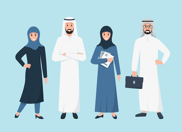 Uomini d'affari arabi e donne di affari in piedi in abiti islamici tradizionali