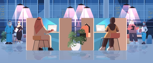 Uomini d'affari arabi con maschere che lavorano nel concetto di lavoro di squadra di riunioni d'affari di centri di coworking creativi