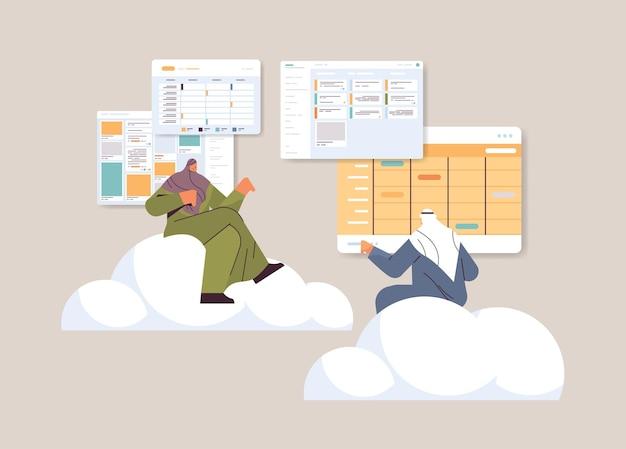 Uomini d'affari arabi squadra pianificazione giorno pianificazione appuntamento nel calendario app agenda piano riunioni concetto di gestione del tempo orizzontale illustrazione vettoriale a figura intera
