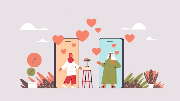 Coppia araba che chiacchiera la donna araba dell'uomo in linea di app mobile online di datazione che discute durante l'illustrazione virtuale di orizzontale di concetto di comunicazione di relazione sociale di riunione