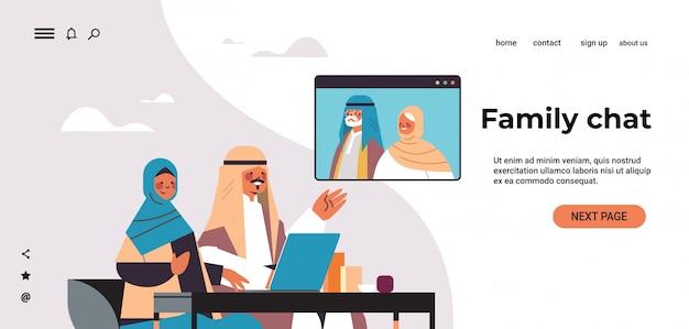 Coppia araba che ha riunione virtuale con i nonni aribici durante l'illustrazione orizzontale dello spazio della copia del ritratto di concetto di comunicazione online di chiacchierata della famiglia di video chiamata
