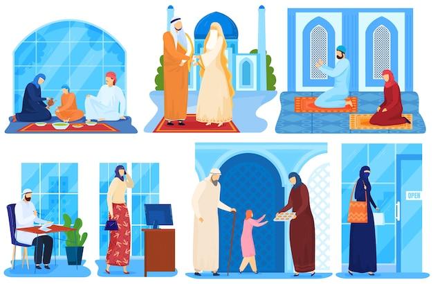Famiglia araba musulmana o persone saudite asiatiche in panni islamici tradizionali insieme di illustrazioni.