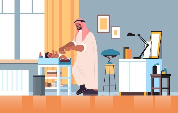 Padre arabo, cambiare pannolino, a, suo, piccolo figlio, paternità, genitorialità, concetto, papà, trascorrere del tempo, con, suo, bambino, a casa, soggiorno, interno, pieno, lunghezza, orizzontale, vettore, illustrazione