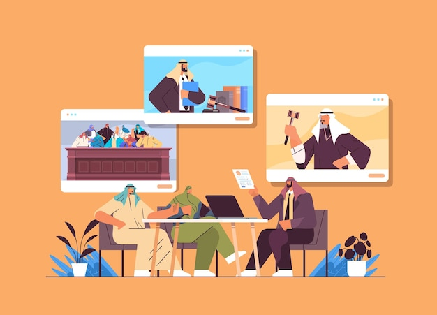 L'avvocato o il giudice arabo si consultano discutendo con i clienti durante la riunione legge e servizio di consulenza legale concetto di consultazione online orizzontale illustrazione vettoriale