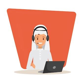 Uomo arabo in call center e personaggio del servizio clienti