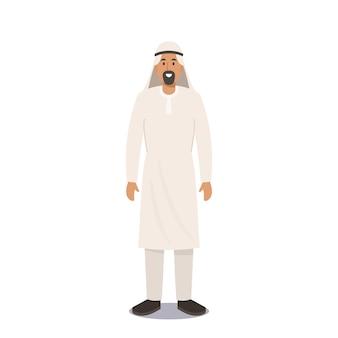 Uomo arabo in abiti tradizionali. cultura musulmana e concetto di moda araba. il personaggio maschile saudita indossa thawb o kandura