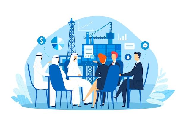 Affari petroliferi arabi, illustrazione della conferenza dell'uomo d'affari. discussione sul carattere dell'azienda e del responsabile del successo. seminario di brainstorming con partner piatto, concetto di collaborazione.