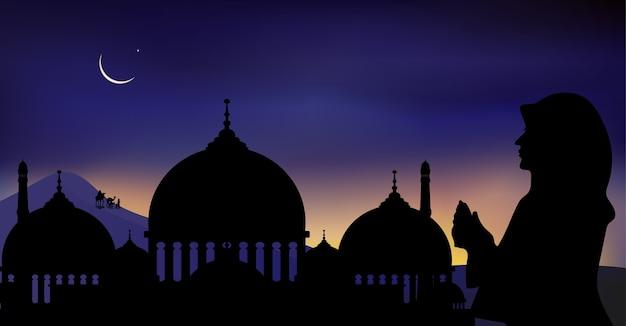 Preghiera della donna araba, famiglia e cammello che cammina nel deserto nella notte oscura