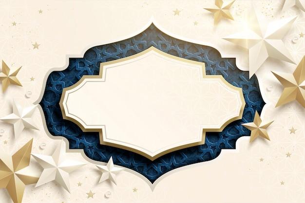 Sfondo arabesco con spazio copia e decorazioni a stella