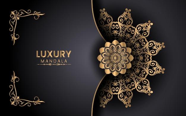 Arabesque golden mandala sfondo islamico per milad un nabi festival vettore premium