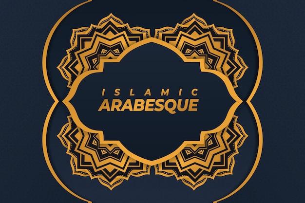 Sfondo islamico arabesco con ornamento mandala blu oro