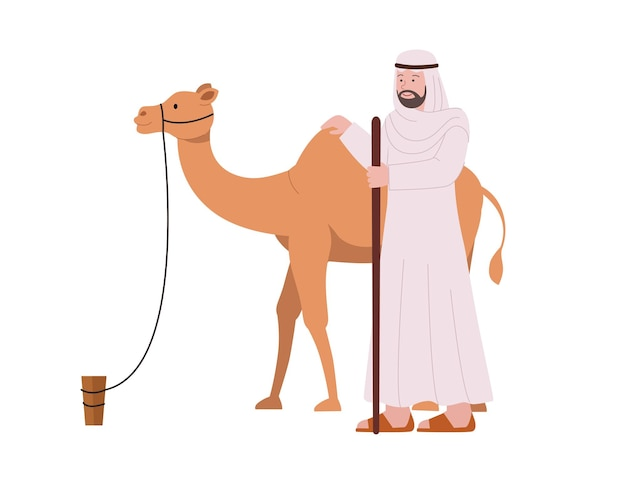 Uomini adulti arabi con illustrazione piatta cammello