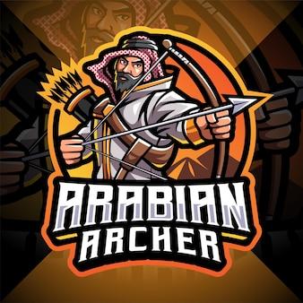 Arciere arabo esport mascotte logo design