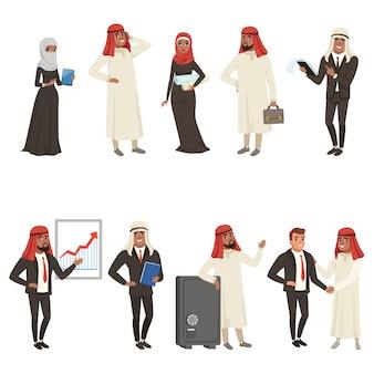 Set di caratteri di uomini d'affari e bisessuali arabi, uomini d'affari al lavoro