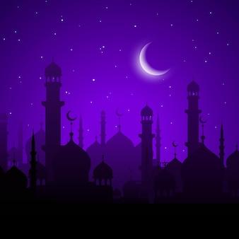 Città araba, scena notturna. moschee arabe e sagome di minareti sotto il cielo stellato viola con luna splendente.