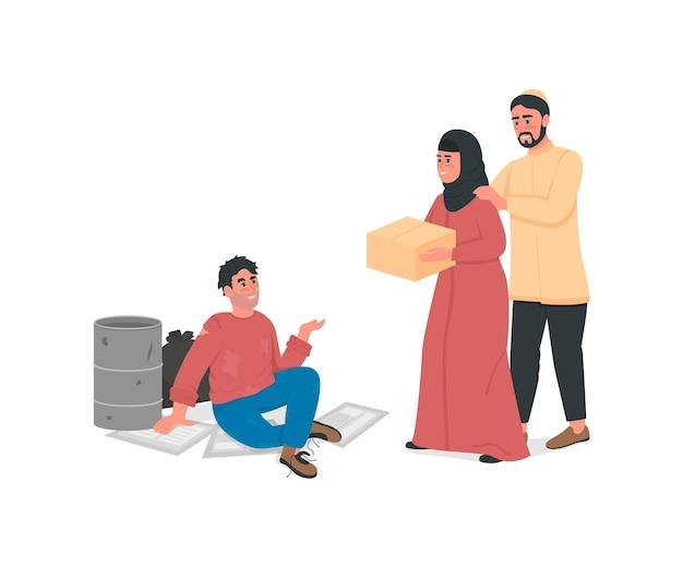 Coppia araba aiuta il personaggio senza volto di colore piatto dell'uomo senza casa. la famiglia dell'islam dà da mangiare ai poveri. illustrazione di cartone animato isolato supporto sociale